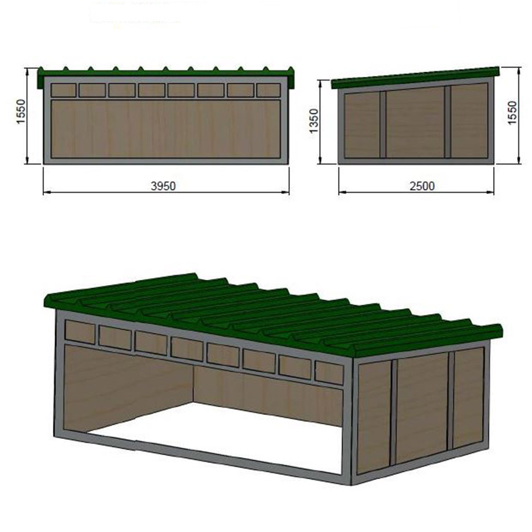 Schema capannina per allevamento suini all'aperto
